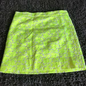 J CREW factory yellow neon floral skirt | sz 0